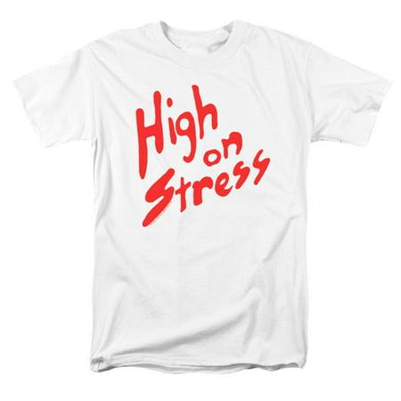 Revenge Of The Nerds Men's  High On Stress T-shirt White - Nerd Clothes