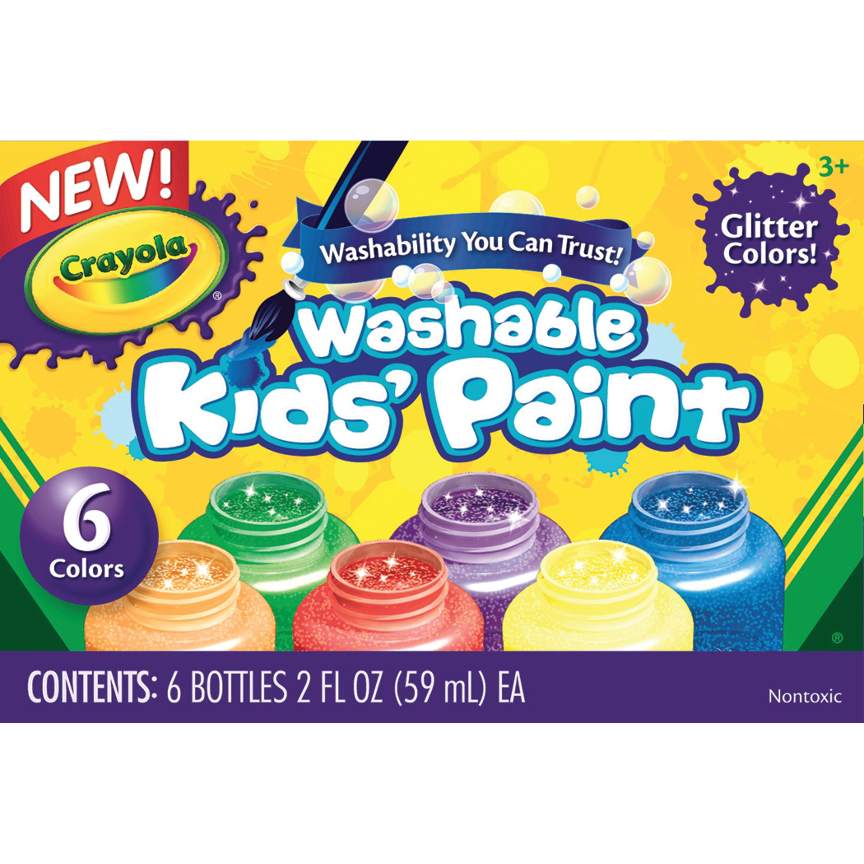 Crayola Washable Kids' Paint Set 6 Colors Glitter Set