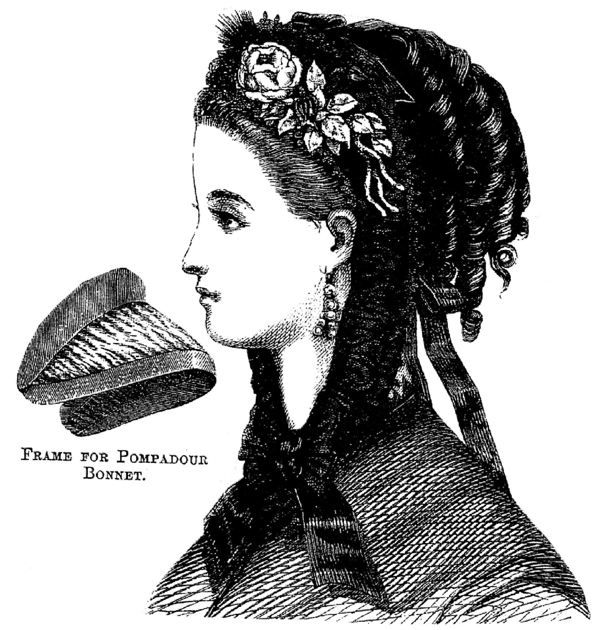 Sewing Pattern: 1869 Black Pompadour Bonnet