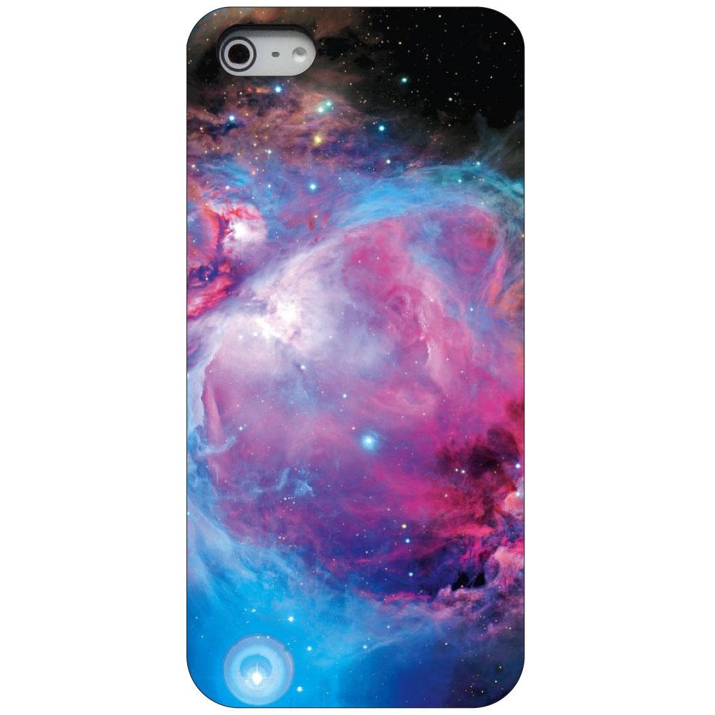 CUSTOM Black Hard Plastic Snap-On Case for Apple iPhone 5 / 5S / SE - Purple Blue Black Orion Nebula