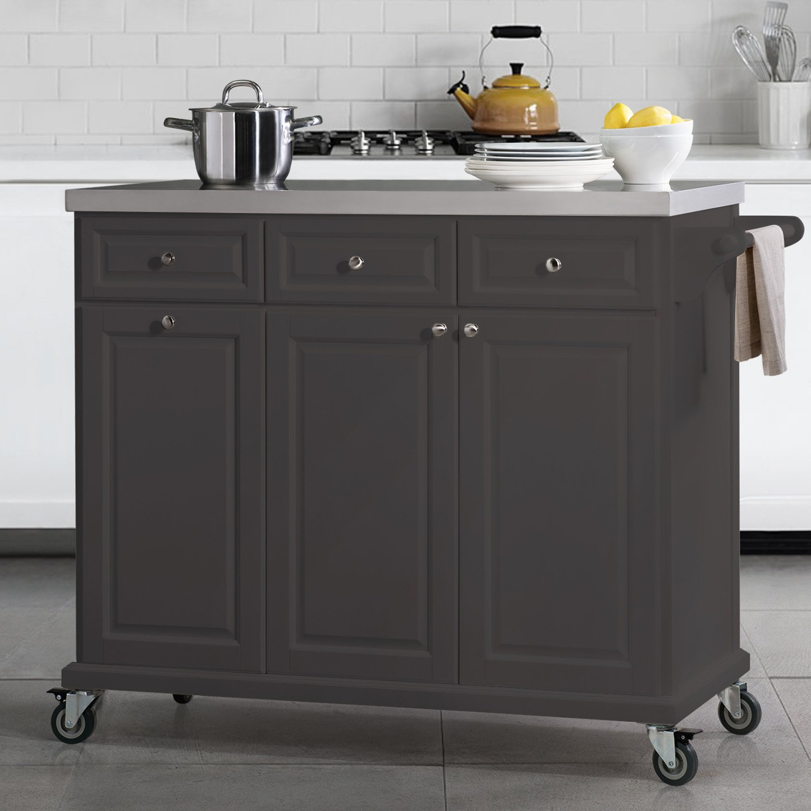 SJ Collection Buckhead Portable Kitchen Island Cart ...