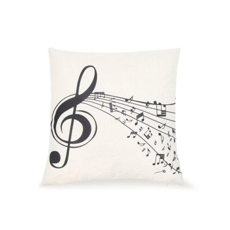 Pal Fabric Blended Linen Square 18x18 Music Treble Clef Black and White Pillow Cover for $<!---->