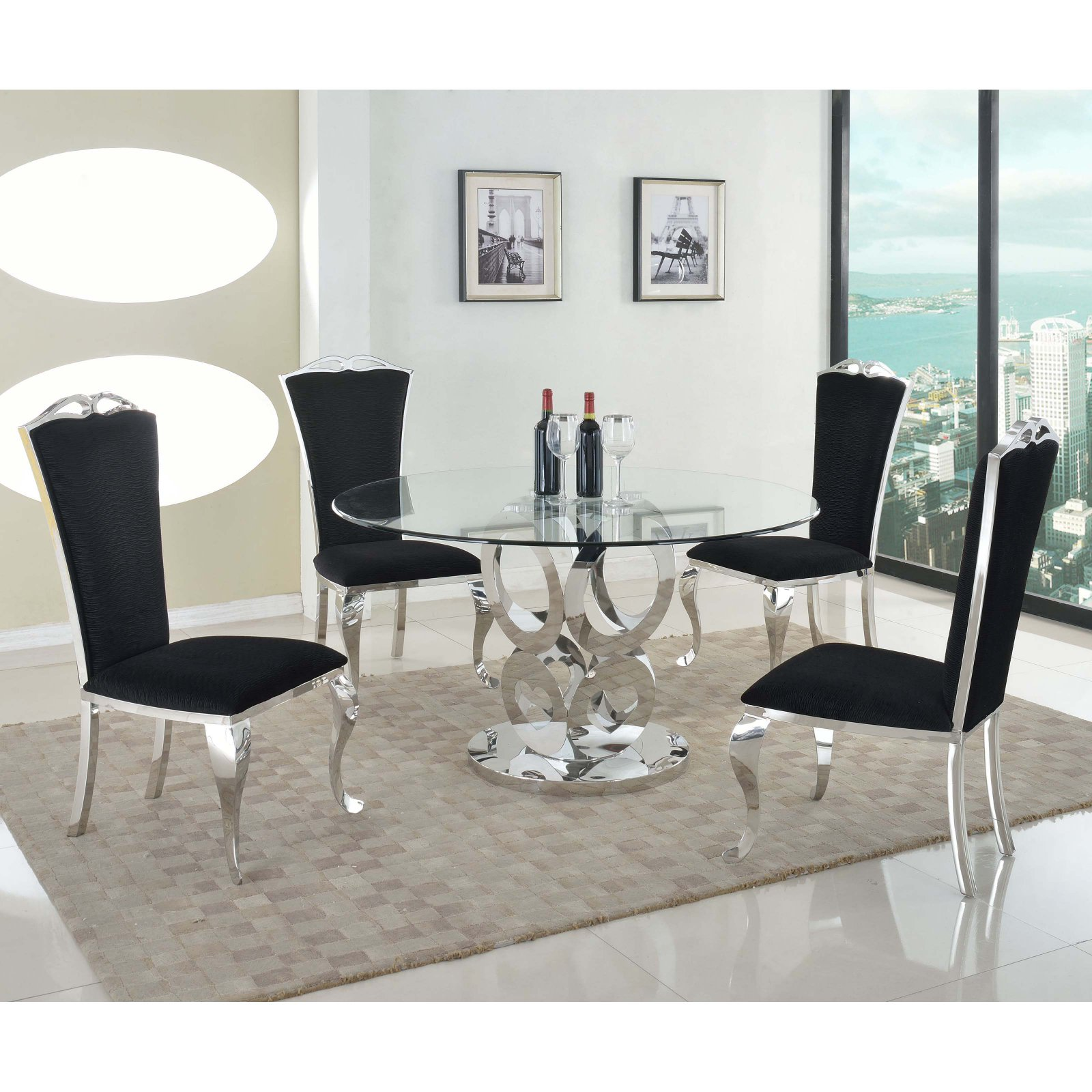 Chintaly Raegan 5-Piece Dining Table Set with Jamie Side Chair