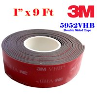 "Genuine 3M 1"" (25mm) X 9 Ft VHB Double Sided Foam Adhesive Tape 5952 Grey Automotive Gopro  Mounting Very High Bond Strong Industrial Grade"