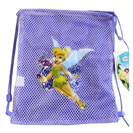 Disney Fairies Tinker Bell Half Mesh Lavender Colored Drawstring Backpack](Mesh Drawstring Backpack)