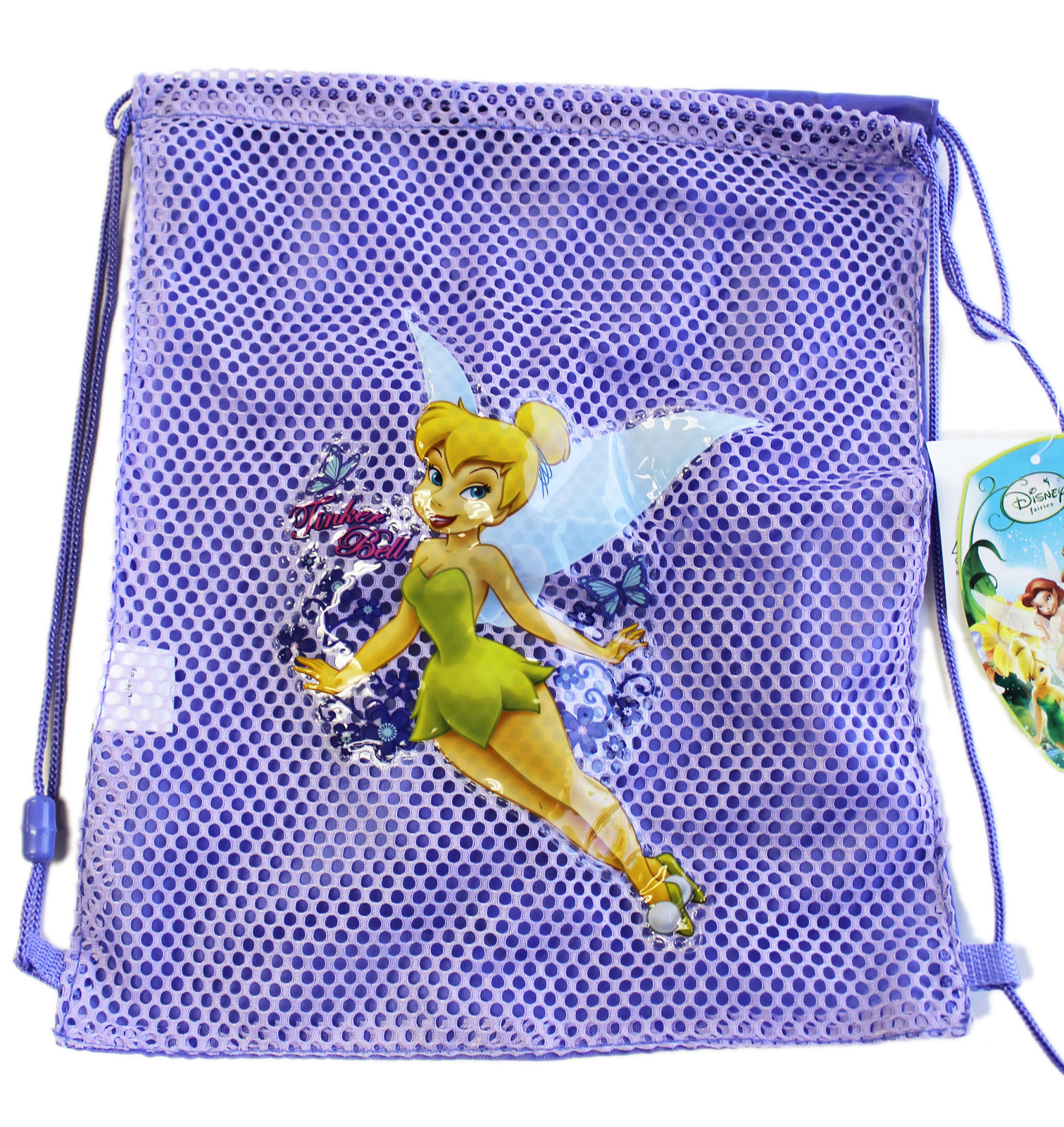 Disney Fairies Tinker Bell Half Mesh Lavender Colored Drawstring Backpack