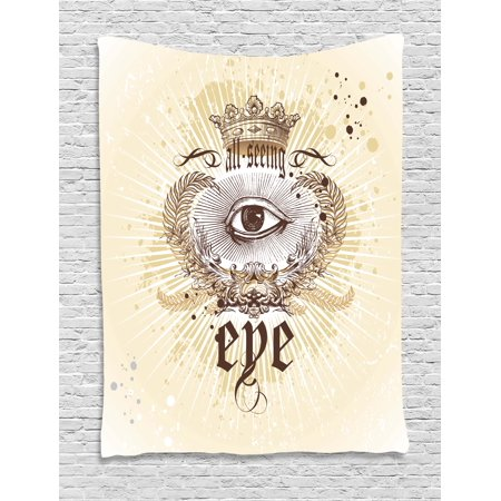 - Eye Tapestry, Artistic Vintage Emblem Eye Victorian Laurel Branches Crown Calligraphy, Wall Hanging for Bedroom Living Room Dorm Decor, Pale Yellow Brown White, by Ambesonne