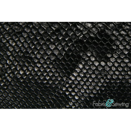 Black Snake Skin Faux Fake Leather Vinyl Fabric Polyester 54