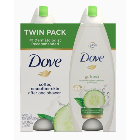 Dove go fresh Cucumber and Green Tea, Sulfate Free Body Wash, 22 oz, Twin Pack (Cucumber Shower)