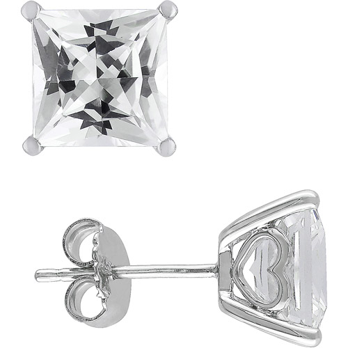 6-1/8 Carat T.G.W. Square Cut White Sapphire Sterling Silver Fashion Earrings