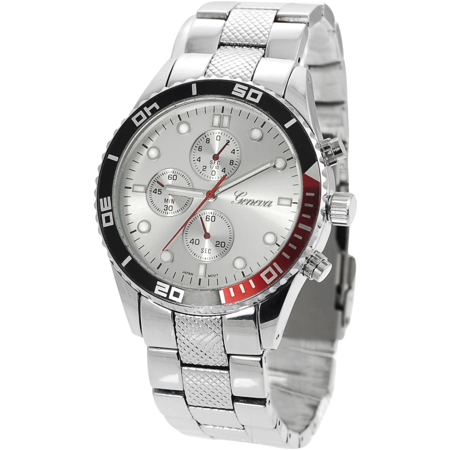 Image of Aktion Men's Chronograph Metal Link Fashion Watch, Silver/Red
