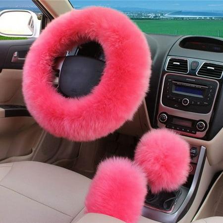 3Pcs/Set Charm Pink/Saffron Yellow Long Wool Plush Warm Steering Wheel Cover Woolen Handbrake Car Accessory Pink Steering Wheels