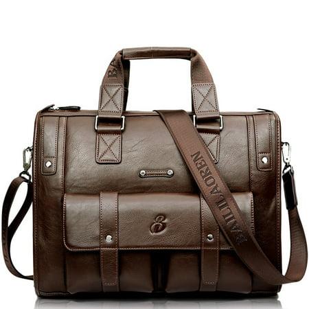 Men Business Shoulder Bag Large Compound Cowhide Bag