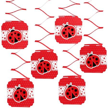 Modern Ladybug - Party Hanging Decorations - 6 Count (Ladybug Decorations)