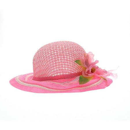 Girls Hat Girls Pink Tea Party Flower Hat