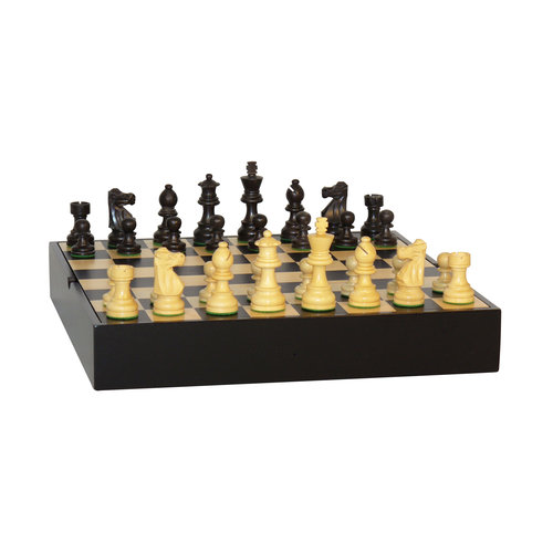 "3"" Black French Chess Set on Maple Veneer Chest by WorldWise Imports"
