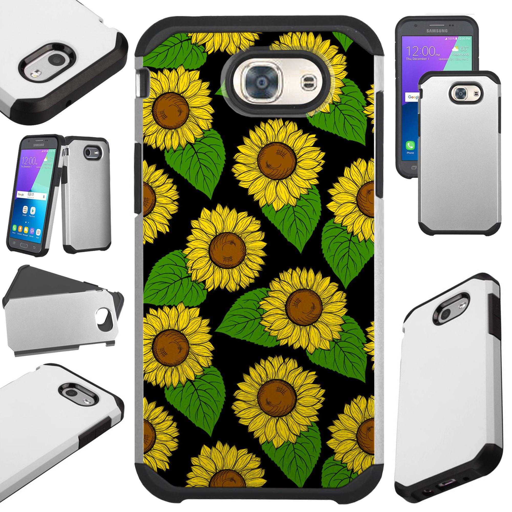 For Samsung Galaxy J3 (2017) / J3 Emerge / J3 Mission / J3 Eclipse / J3 Luna Pro / J3 Prime / Sol 2 / Amp Prime 2 / Express Prime 2 Case Hybrid TPU Fusion Phone Cover (Sun Flowers)