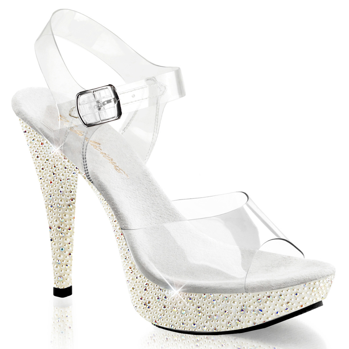 Womens Stunning White Faux Pearl Bridal Sandals Shoes with 5'' Platform Heels
