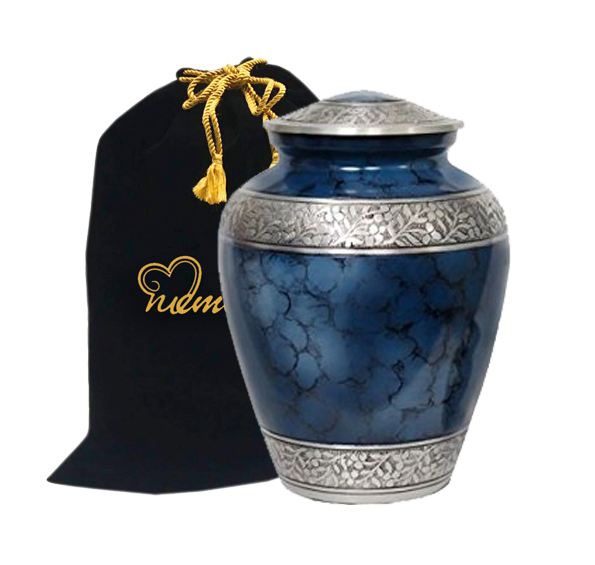 Memorials4u Elite Cloud Blue and Silver Cremation Urn for Human Ashes - Adult Funeral Urn Handcrafted - Affordable Urn for Ashes - Large Urn Deal