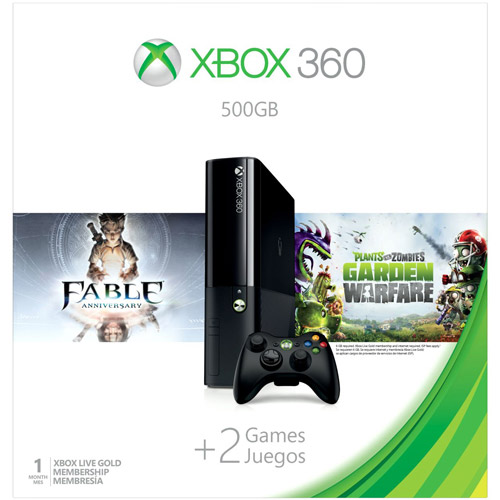 Xbox 360 500GB Console with Fable Anniversary and Plants vs Zombies: Garden Warfare
