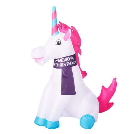 Holiday Time 3.5 ft. Unicorn Inflatable - Inflatable Flowers