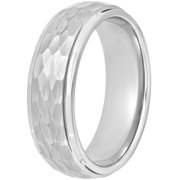 Men's Tungsten 8MM Hammered Finish Wedding Band - Mens Ring