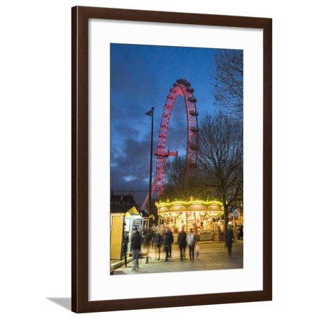 Christmas Market in Jubilee Gardens, with the London Eye at Night, South Bank, London, England Framed Print Wall Art By Matthew Williams-Ellis ()