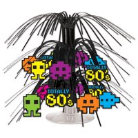 "Club Pack of 12 Multicolored Pixel and ""Totally 80's""  Mini Cascade Party Table Centerpiece 7.5"""