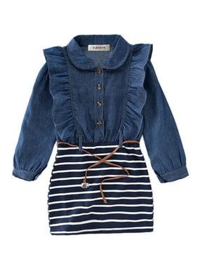 StylesIlove Little Girl Ruffle Denim Striped Mini One-piece Tunic Dress with Belt - 110/3-4 Years
