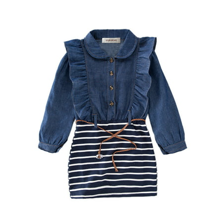 One Piece Dress - StylesIlove Little Girl Ruffle Denim Striped Mini One-piece Tunic Dress with Belt - 110/3-4 Years
