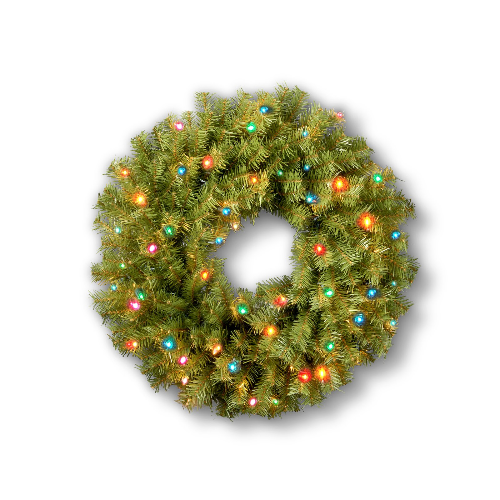 """National Tree 24"""" Norwood Fir Wreath with 50 Multi Colored Lights"""