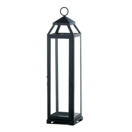 Extra Large Lanterns (Metal Candle Lamp, Decorative Extra Large Glass Lantern Lamp Candle Holder,  Black (Sold by Case, Pack of)