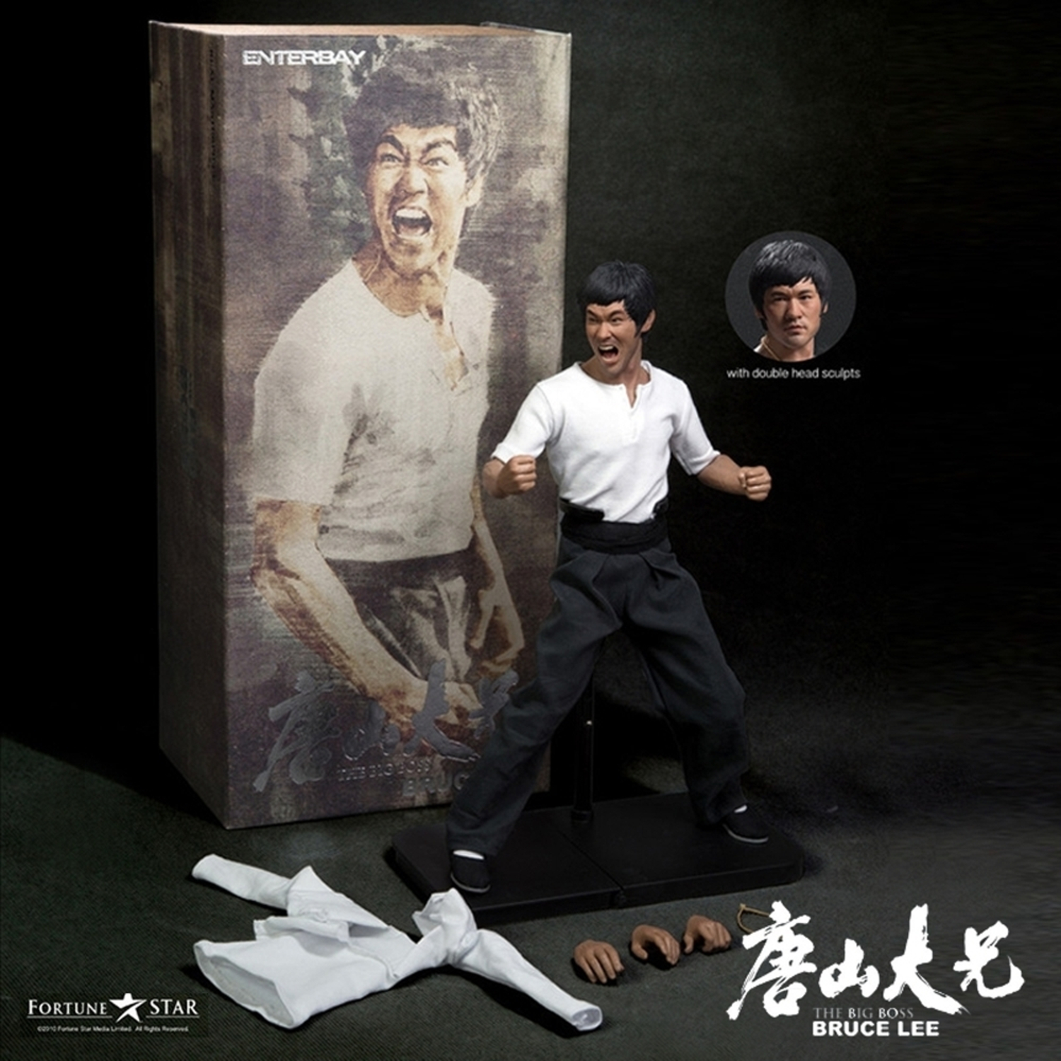 Enterbay x 1/6 The Big Boss Bruce Lee 2 Heads Action Figure RM-1056 New (Christmas Gift Idea)