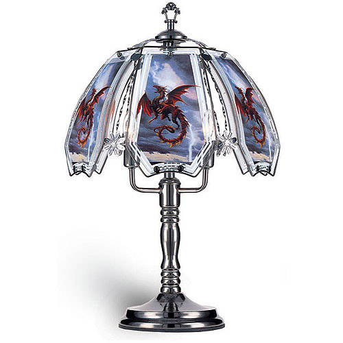 "OK Lighting 23.5""H Red Dragon Theme Touch Lamp, Black Chrome"