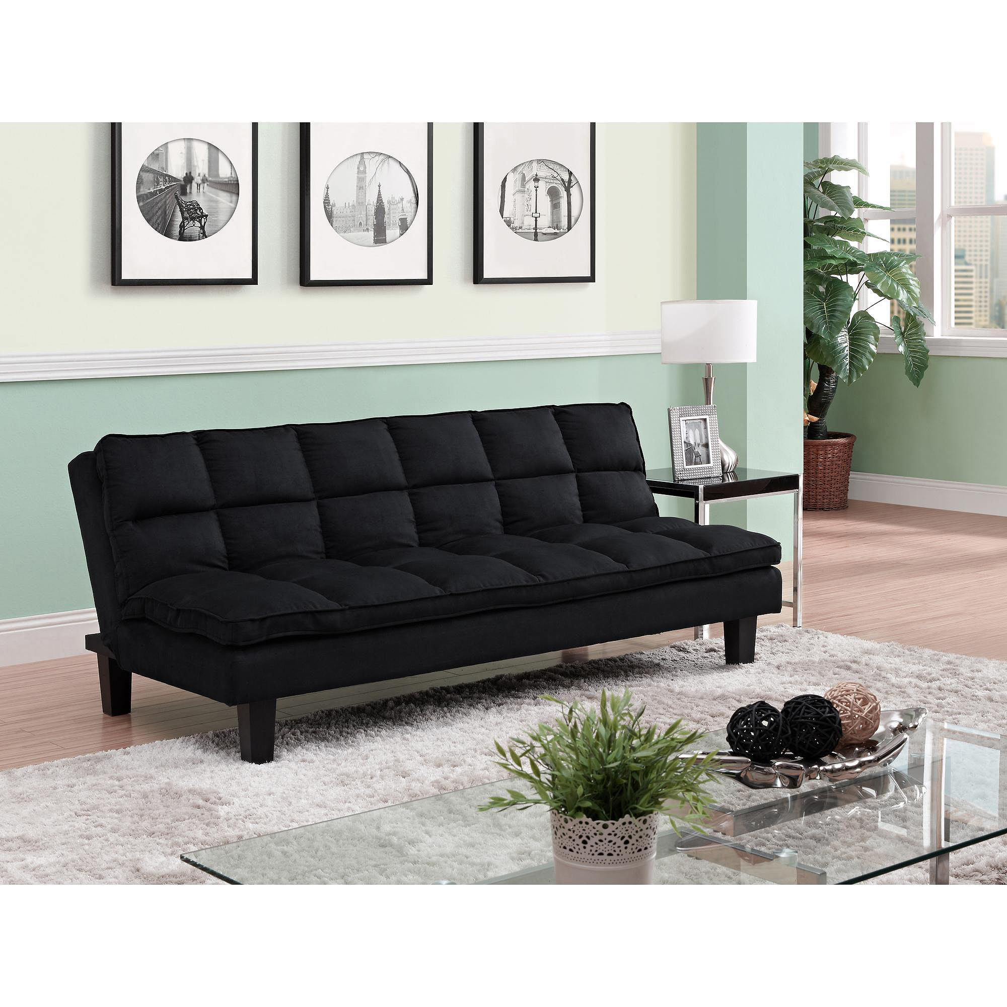 Allegra Pillow Top Futon, Black   Walmart.com