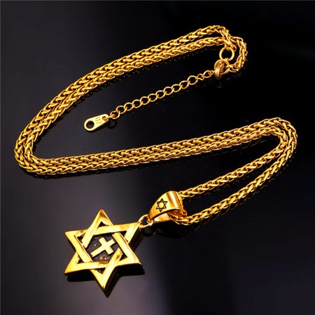 Magen Star of David Pendant Cross Necklace Women/Men Chain Gold plated Israel Jewish Necklace / Pendant Size:4.5 CM (1.7 inches) Length:55 CM (22