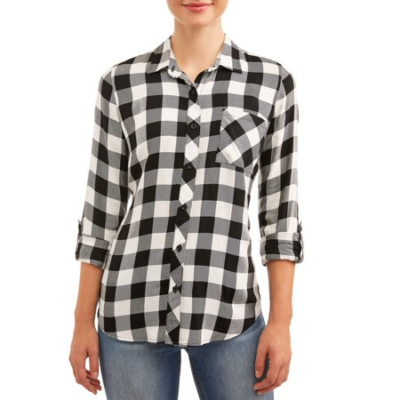 Time and Tru Women's Button Front Plaid Top