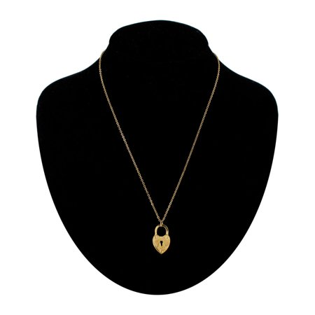 Gold Tone Heart Shaped Lock Keyhole Pendant Necklace 18
