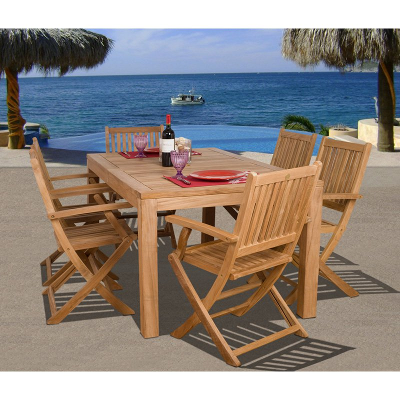 Amazonia Budapest Teak Dining Room Set Seats 6 by International Home Miami Corp