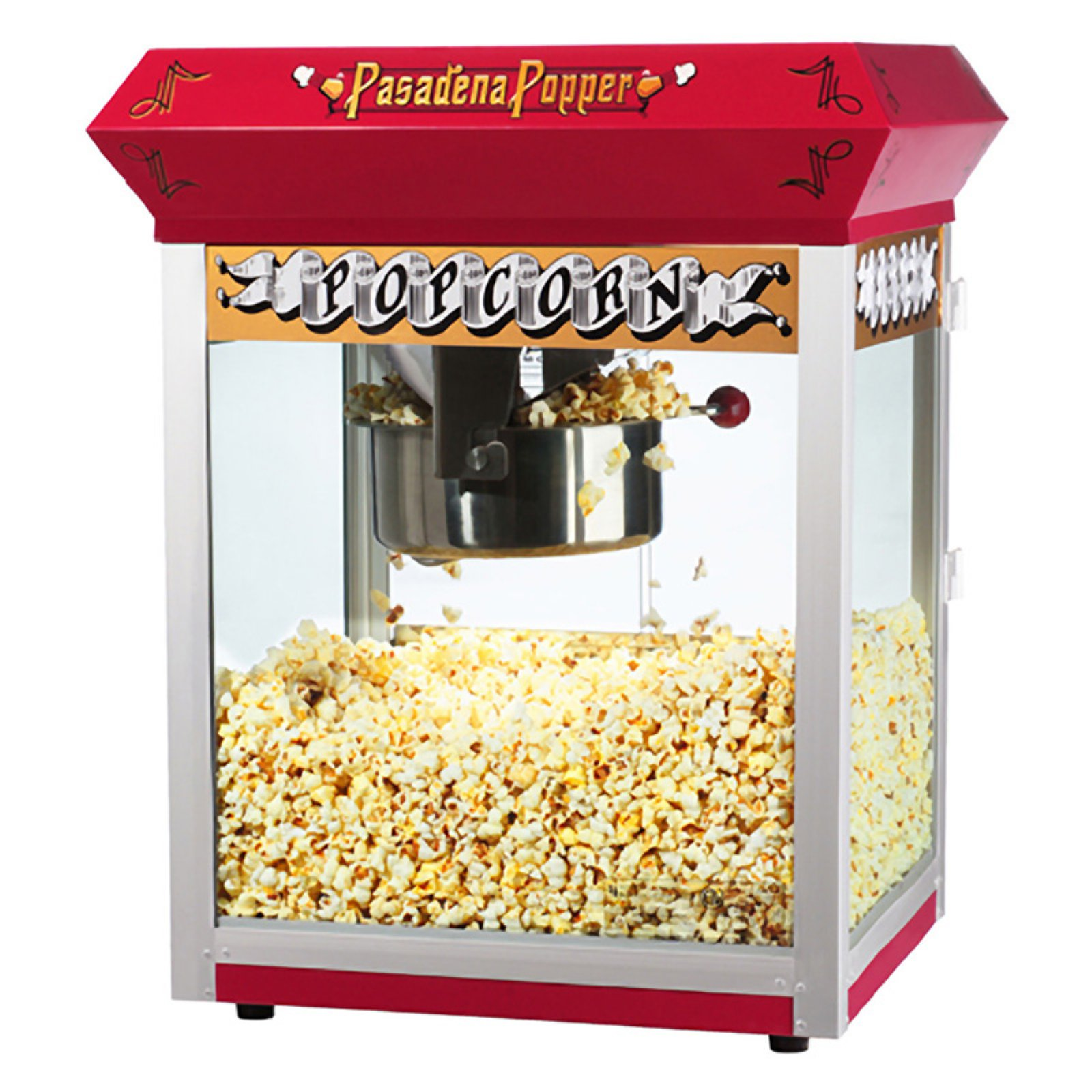 Great Northern Pasadena Red Antique Style Popcorn Popper Machine, 8 Ounce