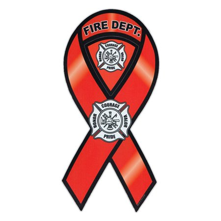 Magnetic Bumper Sticker - Fire Department (Rescue, Firefighter) - Ribbon Shaped Support Magnet - 4
