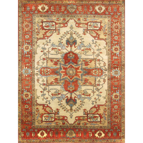 Pasargad Serapi Hand-Knotted Ivory Area Rug