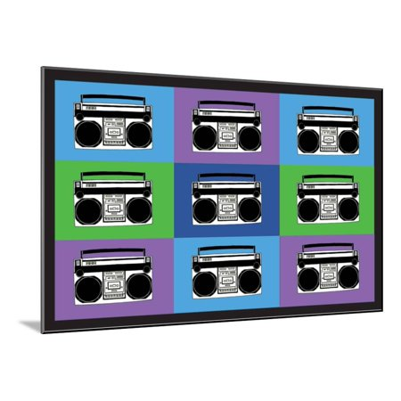 Boombox Stereos 3 Pop Art Print Poster Wood Mounted Print Wall Art