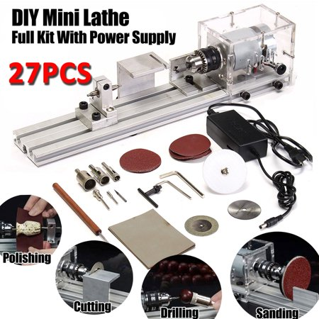 DC24V Mini Buddha Lathe Beads Machine Polisher Table Saw DIY Wood Woodworking Lathe Rotary Tool With Power