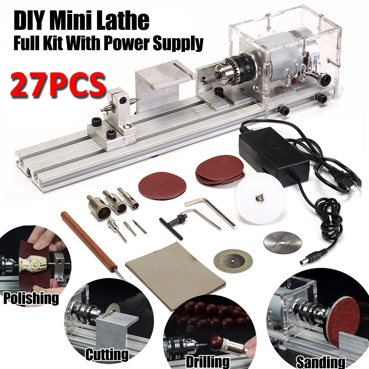 DC24V Mini Buddha Lathe Beads Machine Polisher Table Saw DIY Wood Woodworking Lathe Rotary Tool With Power Adapter