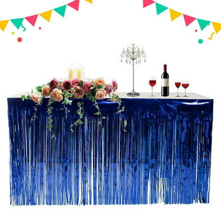 Skirt, Hawaiian Party Decoration Fringed Table Skirt Celebration Thickened Table Skirt Curtain Holiday Supplies, Blue](Hawaiian Decorations To Make)