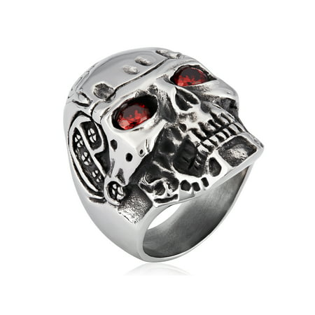 White Gold Skull Ring (Stainless Steel Antiqued Cubic Zirconia Skull Ring (30mm) )