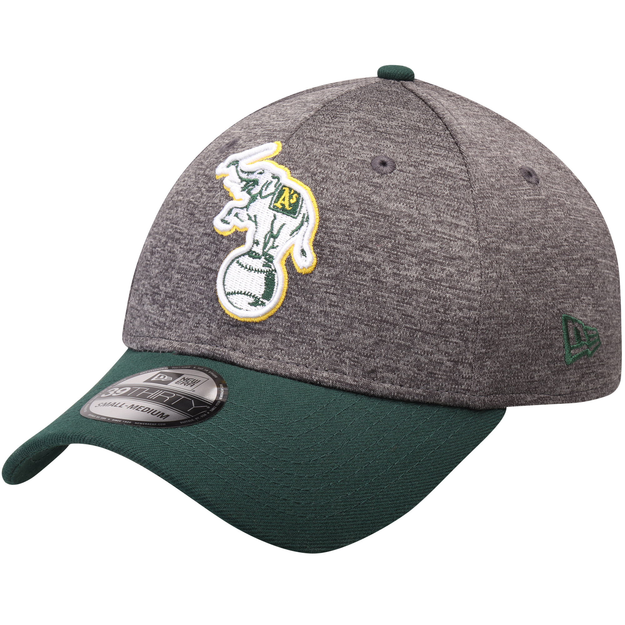 Oakland Athletics New Era Adult 39THIRTY Shadow Tech Flex Hat - Heathered Gray/Green