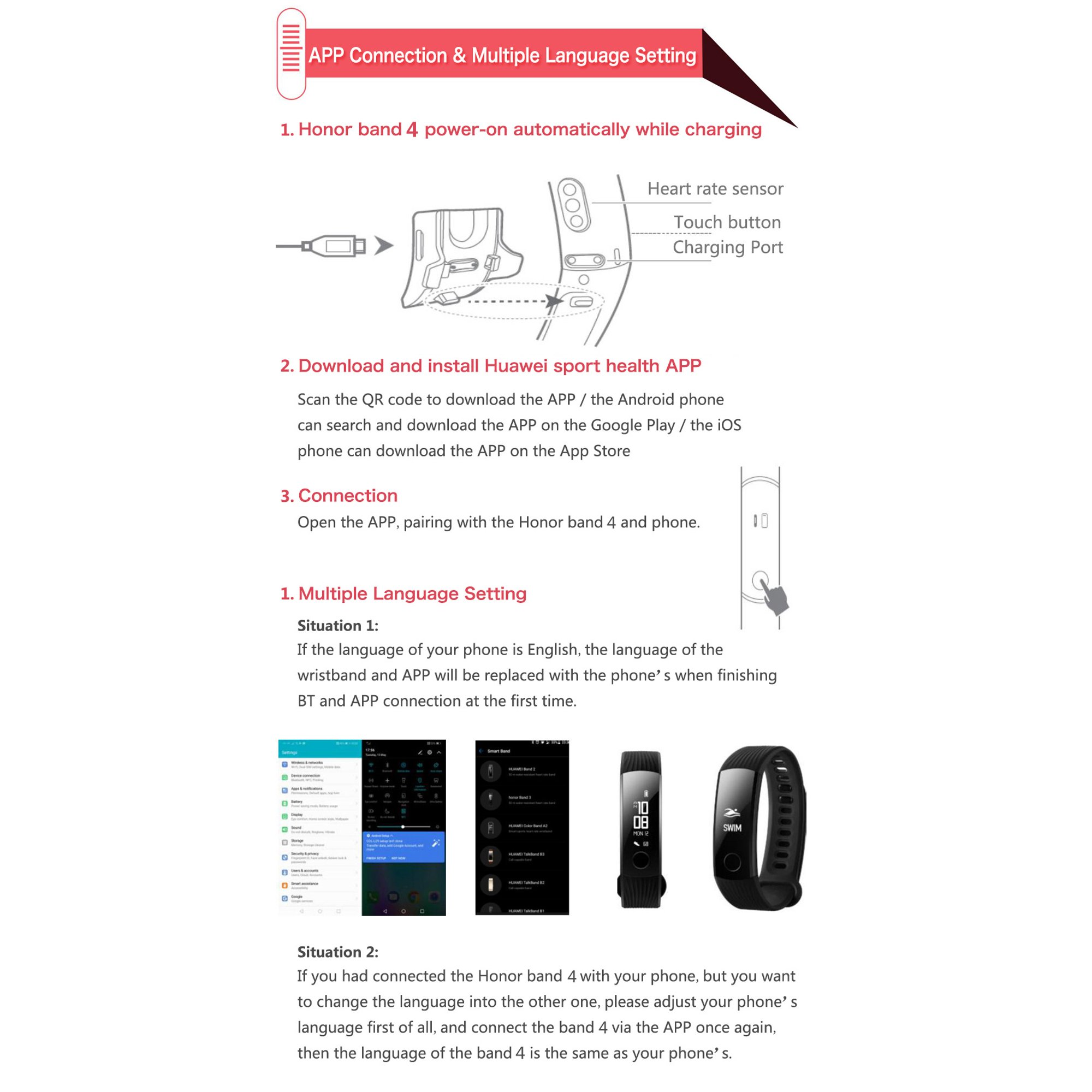 Huawei Honor Band 4 Standard Version Smart Wristband Color