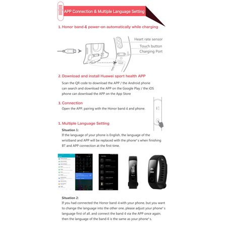 Huawei Honor Band 4 Standard Version Smart Wristband Color 0 95inch  Bracelet Touchscreen Swim Heart Rate Sleep Snap Monitor